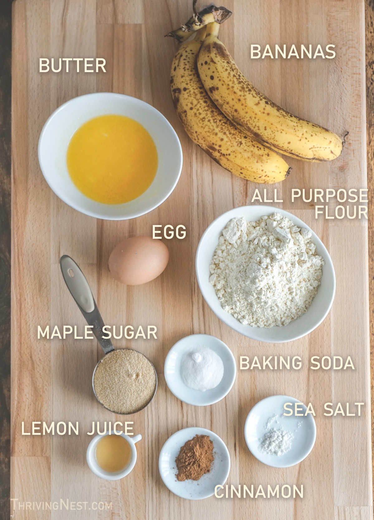 Ingredients for baby banana muffins.