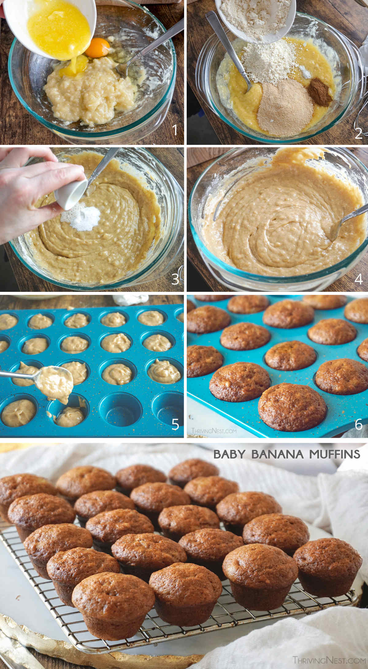 How to make baby banana muffins from scratch with healthy ingredients for babies 6 months and up.