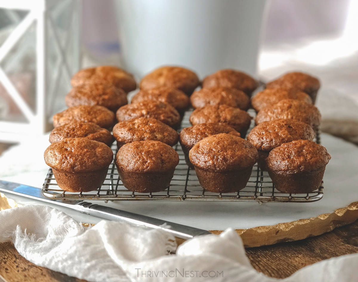 Banana muffins for baby on a cooling rack.