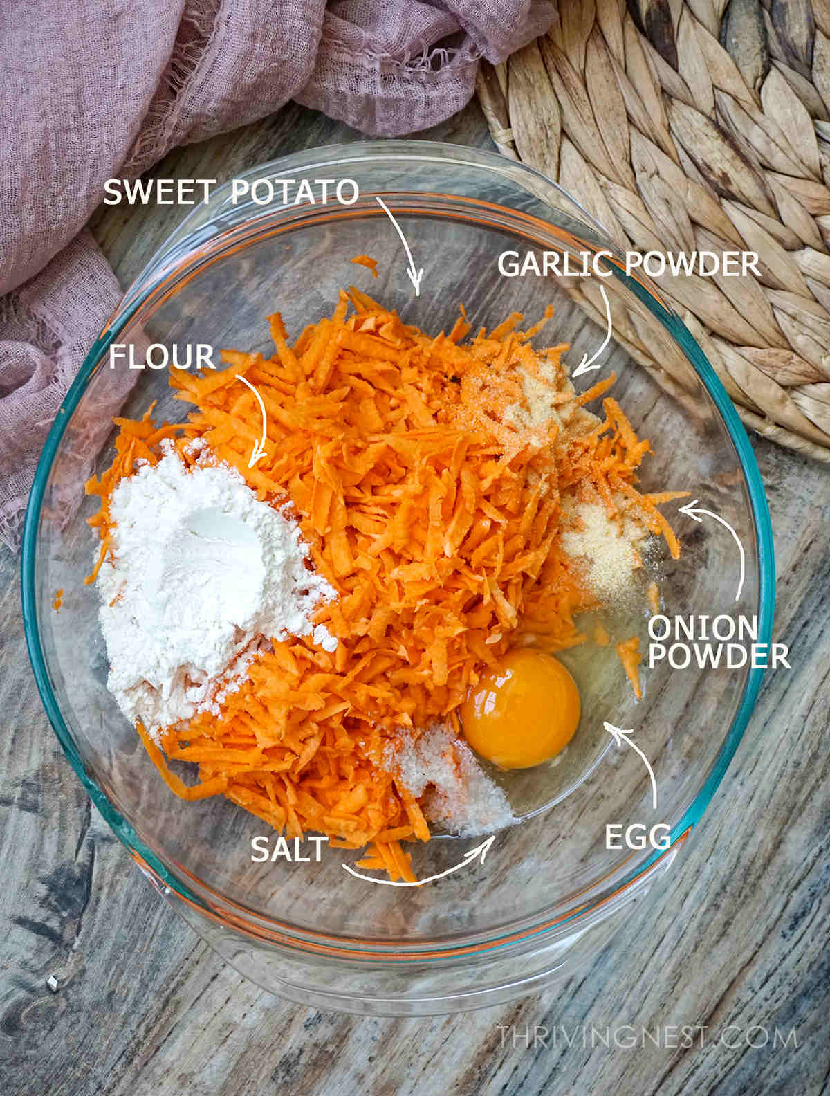 Ingredients needed for baby sweet potato fritters recipe.