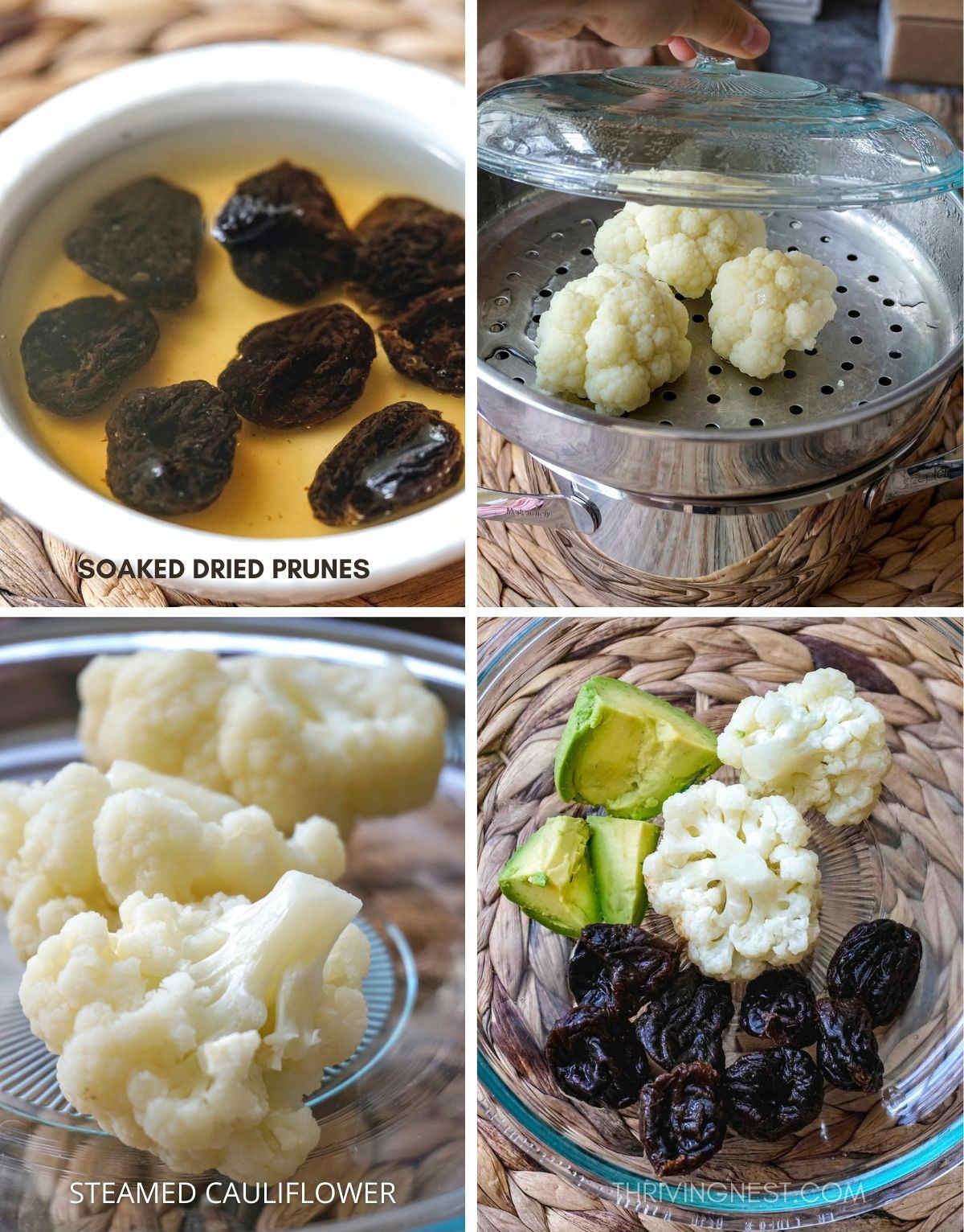 Ingredients to make prune avocado cauliflower puree.
