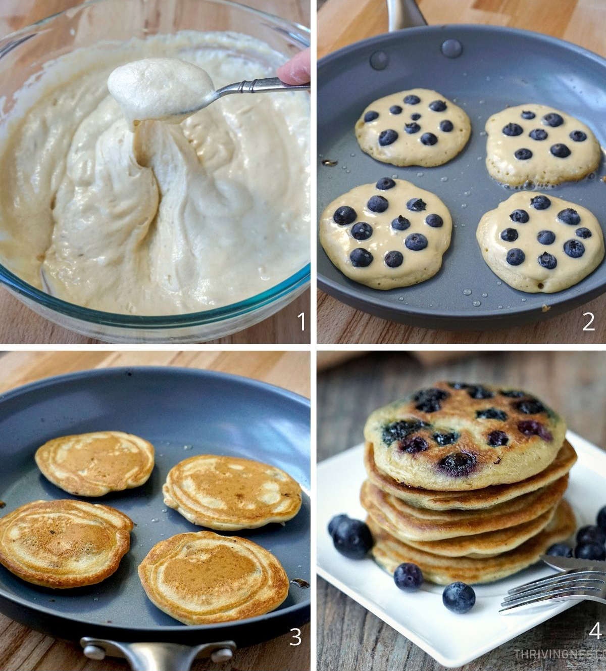 Process shots how to cook blueberry pancakes in a pan.