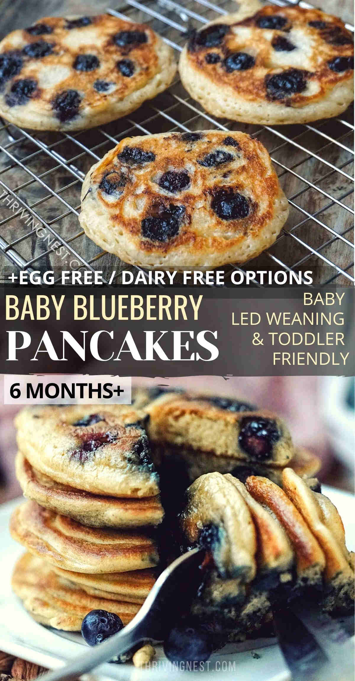 Blueberry pancakes for baby (6 months+) toddlers and older kids, suitable for baby led weaning as well. This recipe for baby blueberry pancakes can be easily adapted to be gluten free, dairy free and egg free. #blueberry #pacakes #baby #babyledweaning #blw #blueberrypancakes #babypancakes #babyfood #babyfingerfood #breakfast #toddler