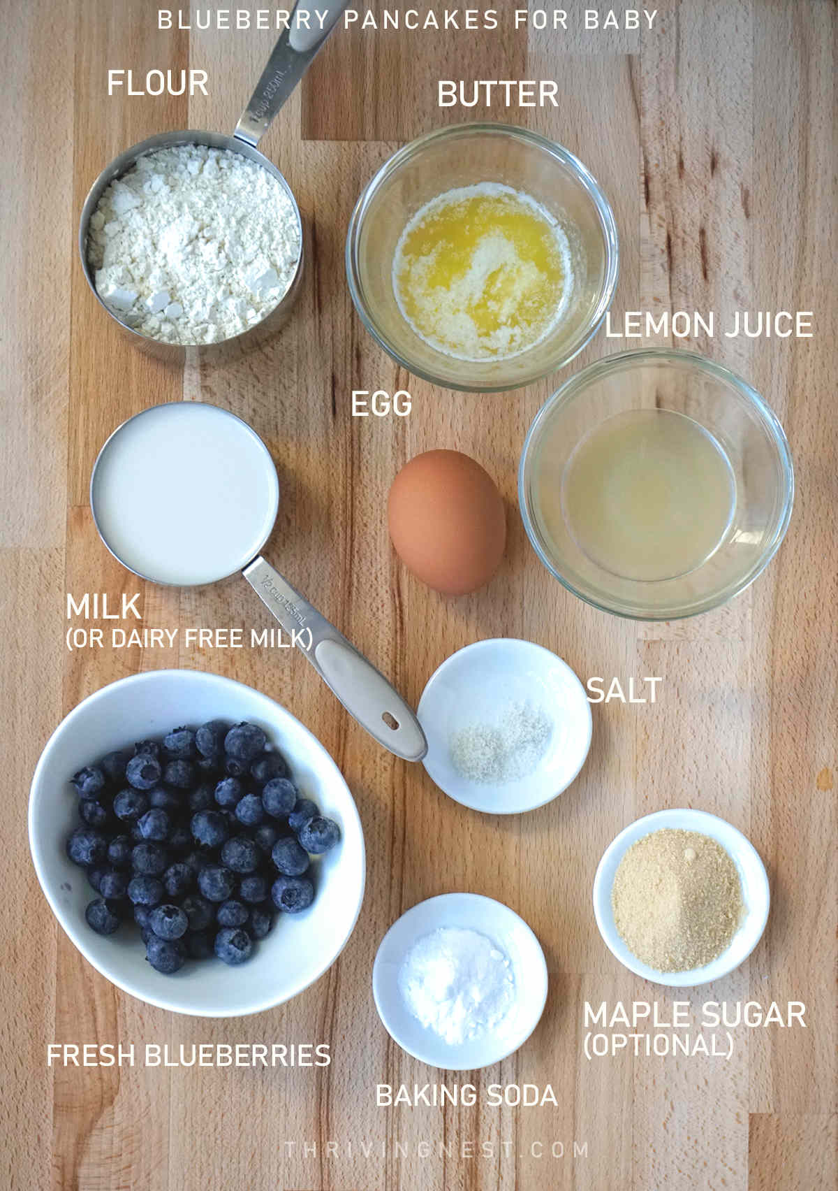 Ingredients needed for making blueberry pancakes for baby.