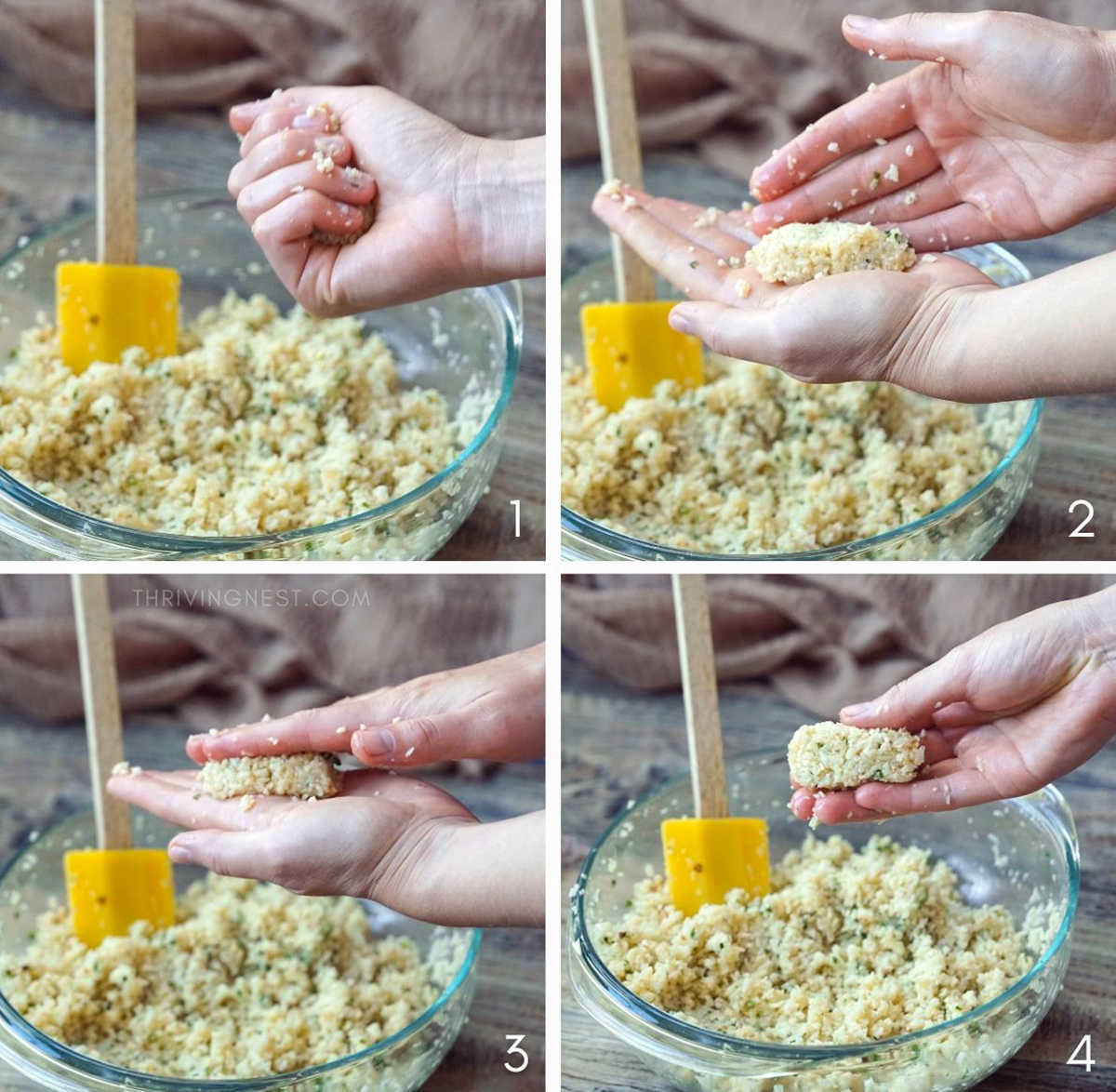 Process shots of how to make cauliflower nuggets tots or bites for babies, how to shape with your hand.