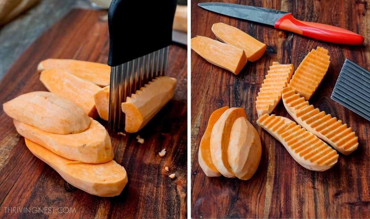 How to cut sweet potatoes for babies preparing for roasting or steaming.