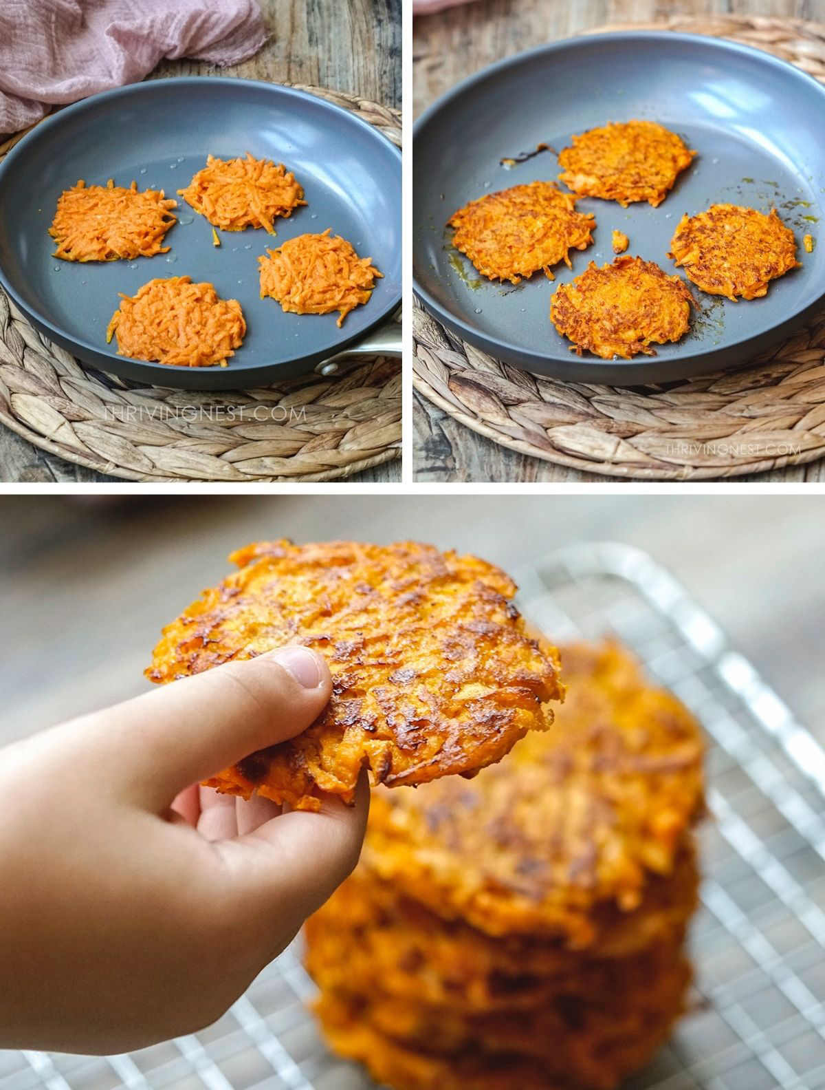 How to make and cook sweet potato fritters / latkes for baby, toddler - process shots.