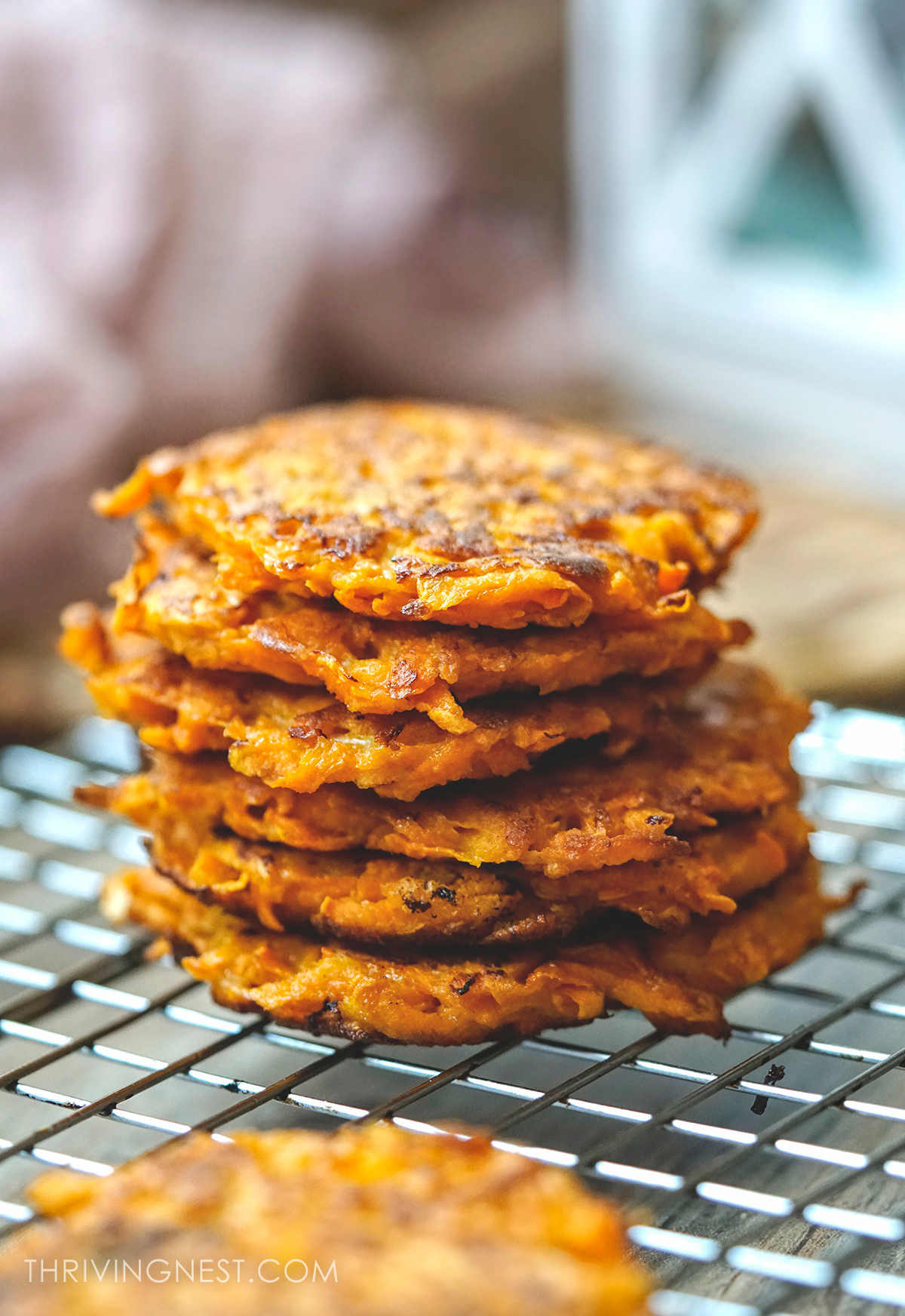 Stacked sweet potato fritters / patties   for baby toddlers and baby led weaning.
