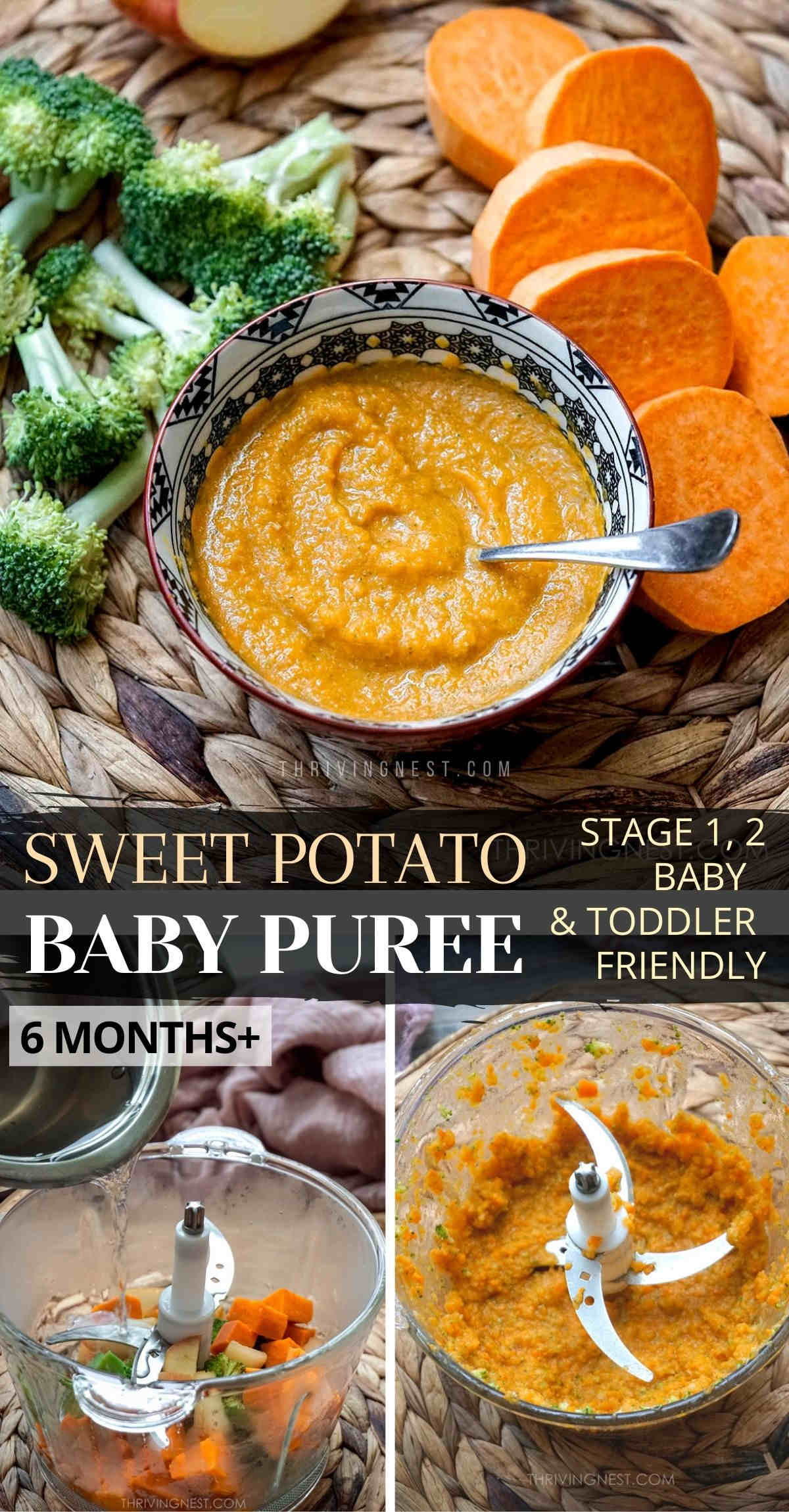 Sweet potato baby puree with apple and broccoli, steamed and blended into a smooth puree for babies 6 months + including toddlers, picture for Pinterest.