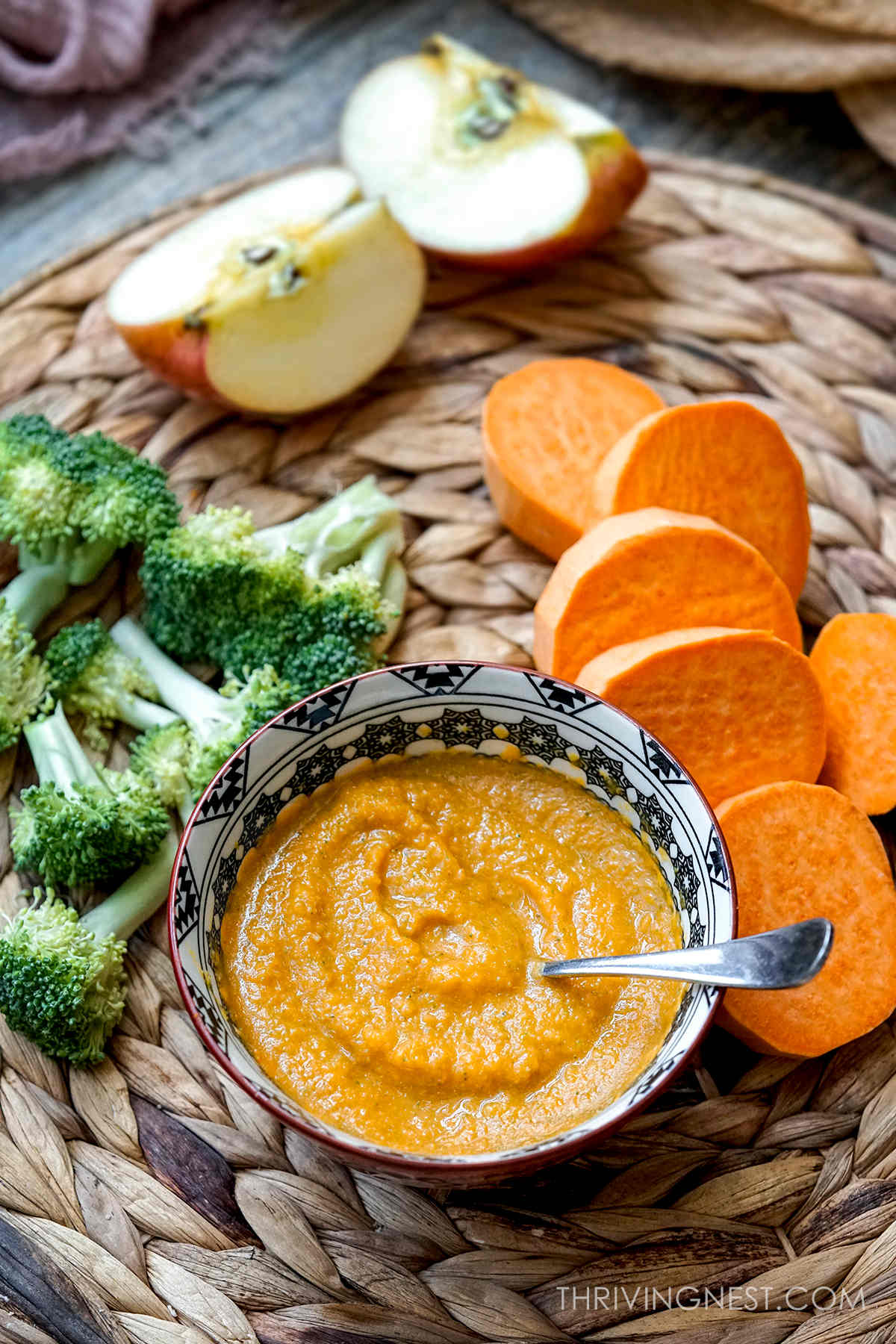 Sweet potato apple broccoli puree as baby food stage 2 for 6 months +.