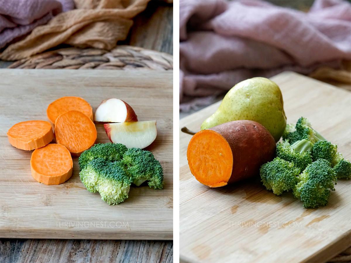 Sweet potato broccoli apple pear for baby food.