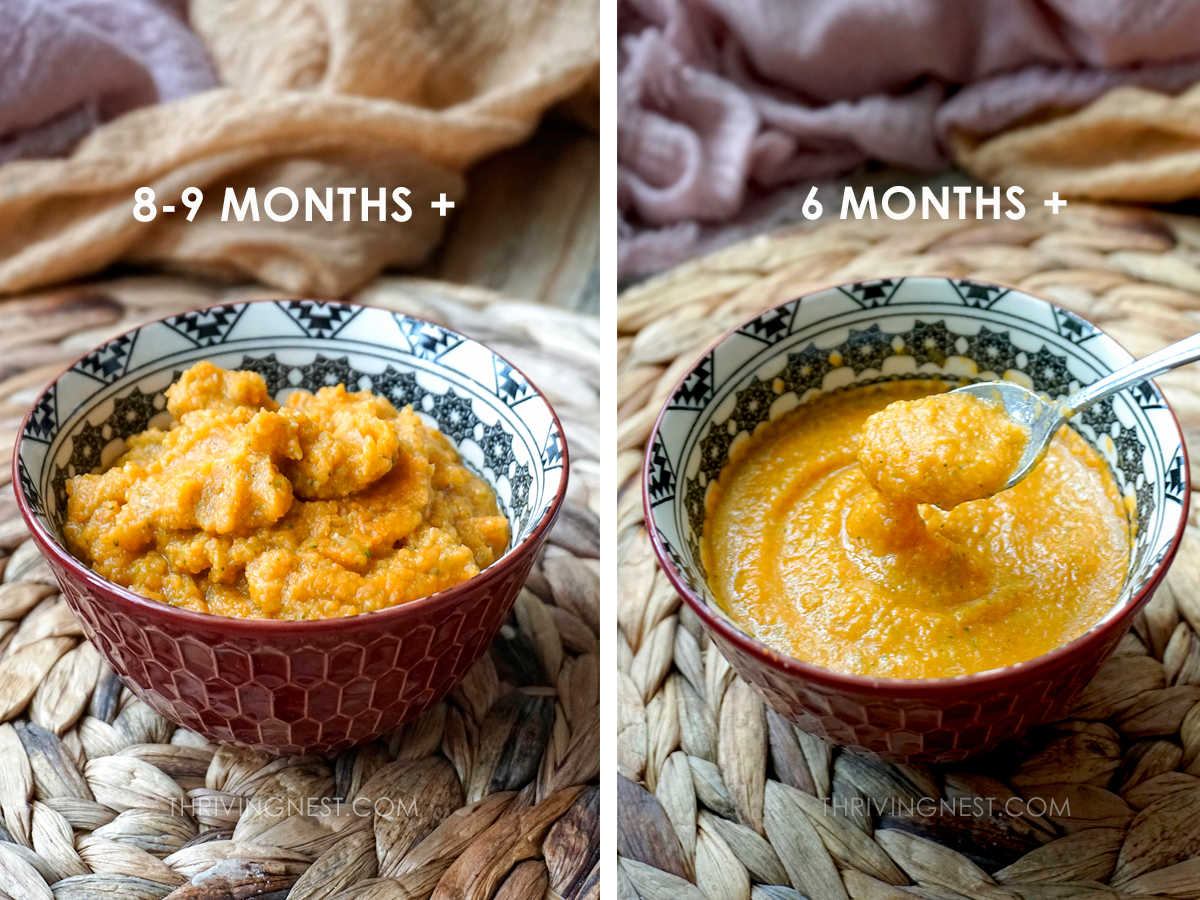 Sweet potato puree with broccoli and apple as baby food, comparison texture 6 moths and 8-9 months.