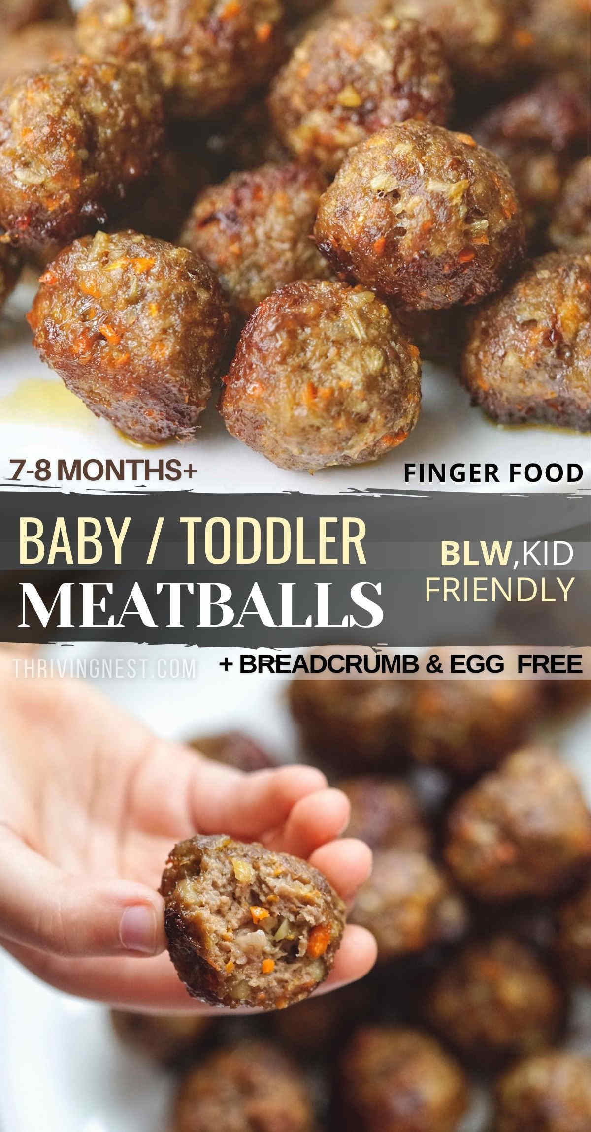 Baked beef meatballs for baby (7 months+), toddler and older kids, great for baby-led weaning too. These kid friendly beef meatballs with extra vegetables will boost the flavor, softness and juiciness. Make this baby meatball recipe without breadcrumbs and egg free. Great for kids school lunch box too. #baby #meatballs #babymeatballs #beefmeatballs #toddler #kids #fingerfood #babyledweaning #blw #eggfree #meatballsforbabyledweaning #baked #meal