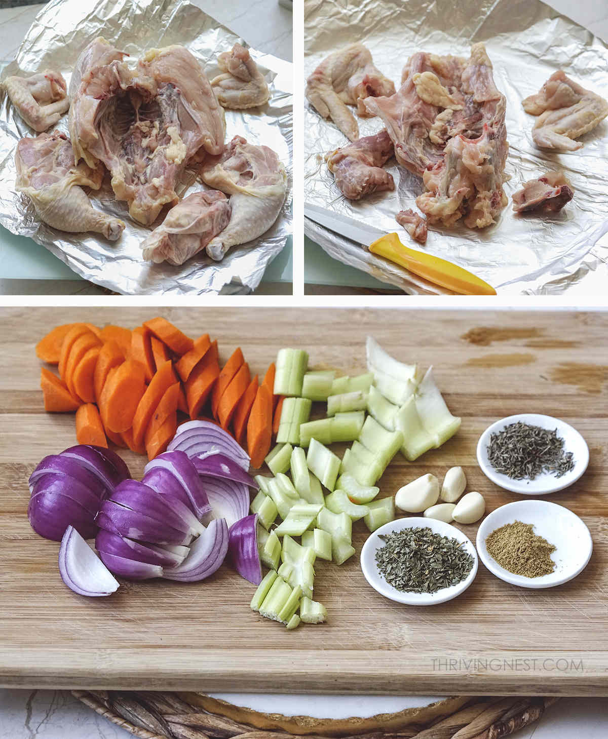 Process shots on how to make a chicken stock for babies toddlers and kids.