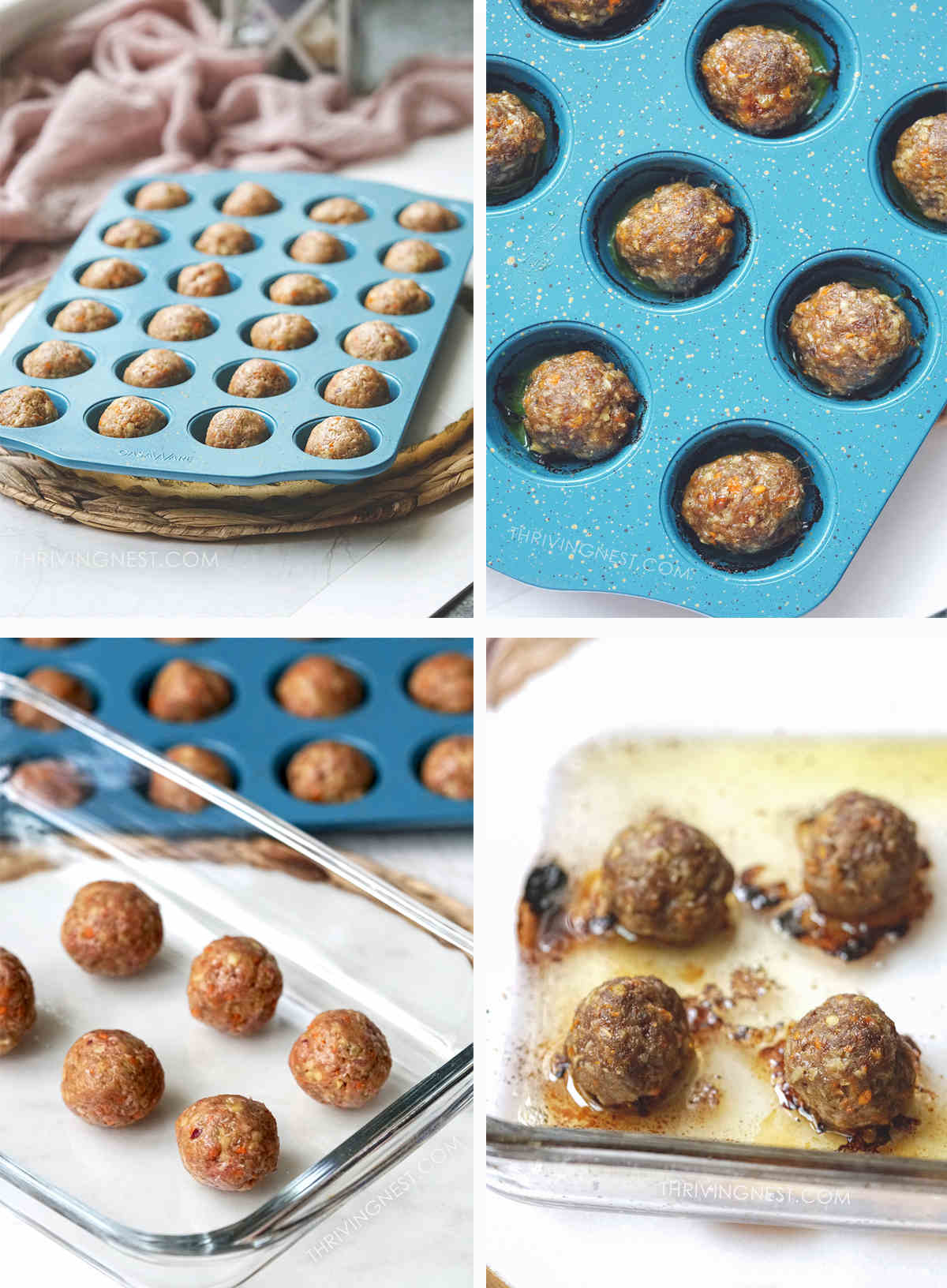 Process shots baked baby meatballs in a muffin pan and a glass pan.