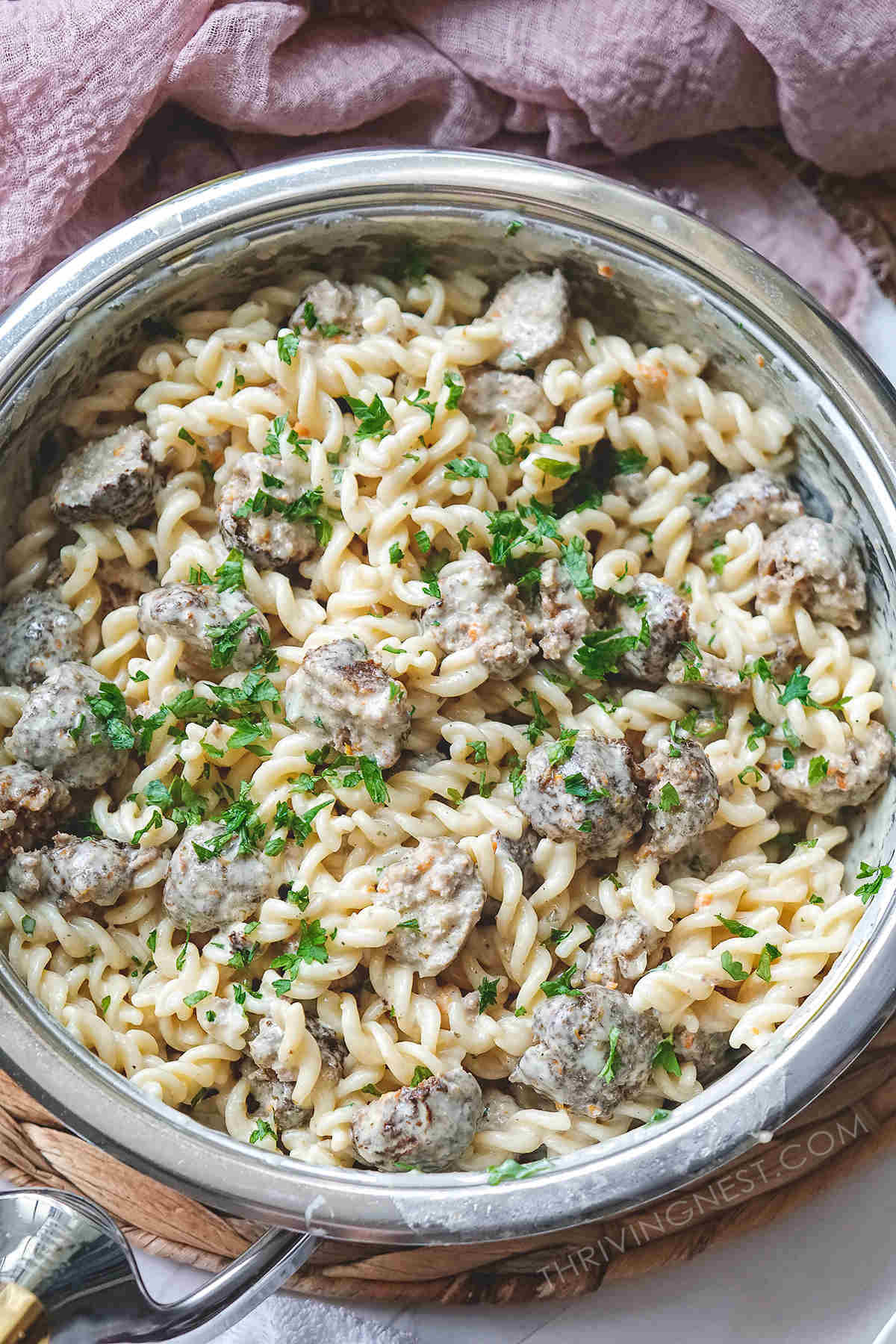 Beef meatballs for baby plus pasta tossed in a white creamy sauce.