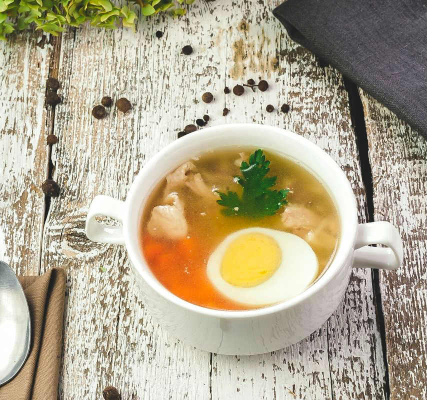 Meat broth soup for babies.