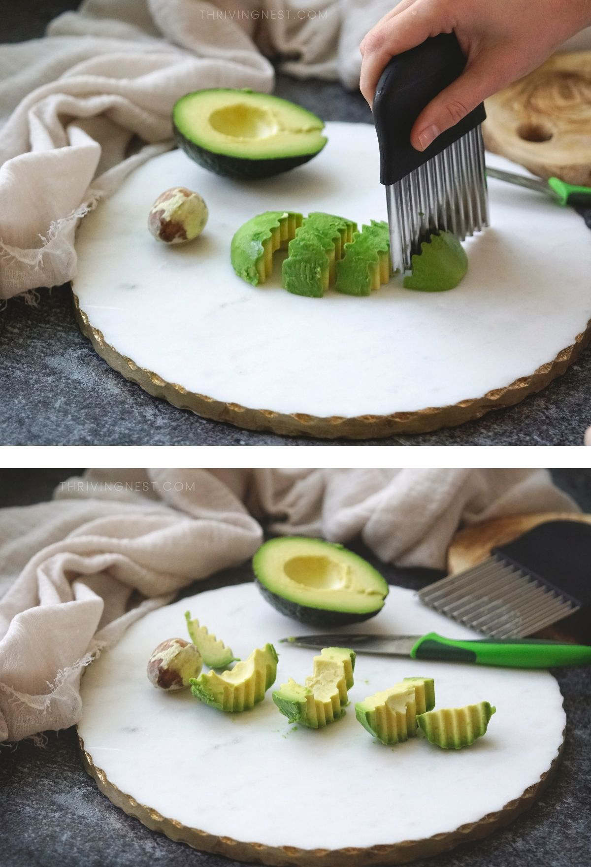 How to cut avocado for babies, process shots.
