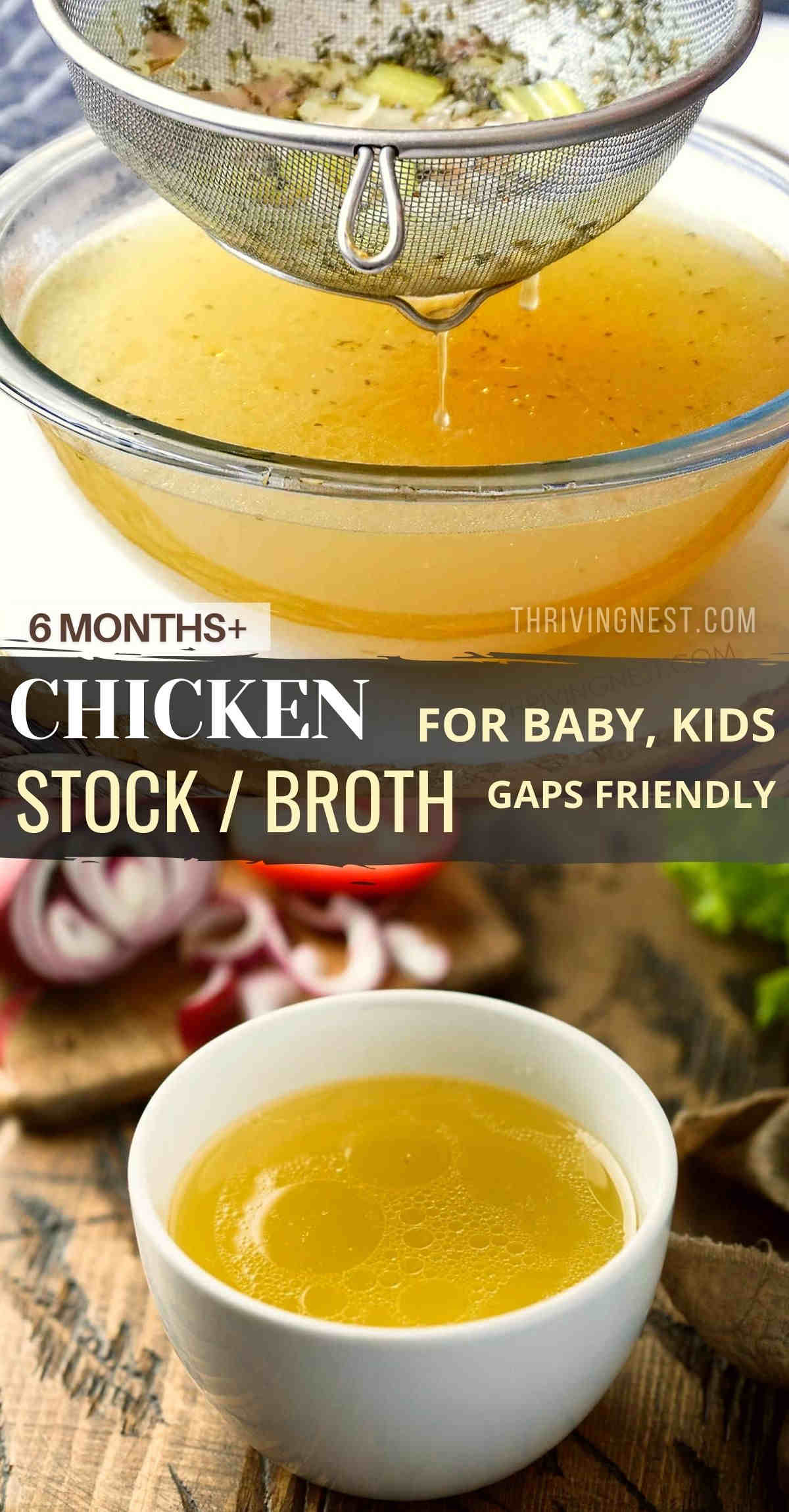 Make chicken stock / broth for baby with fresh wholesome ingredients. Use the chicken stock/broth for baby food starting from 6 months - as the starring ingredient in soups and meals (purees) that require liquid. This chicken stock/ broth it's great for bottle fed babies too. #babybroth #chickenbroth #babystock #babychickenstock #chickenbrothforbabies #brothforbaby #stockforbaby
